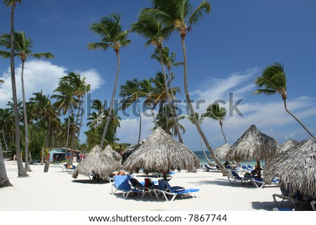 Tropical beach huts - stock photo