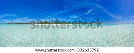 Tropical beach in Cayo Largo Paraiso beach. Cuba - stock photo