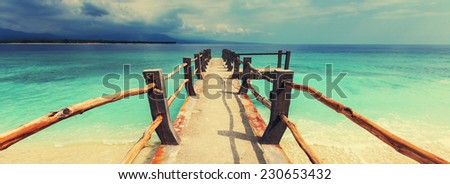Tropical beach in Gili - stock photo