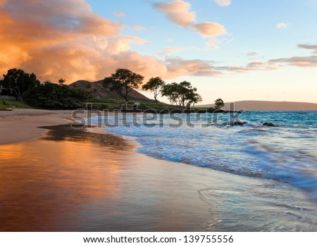 tropical beach in Maui, Hawaii - stock photo