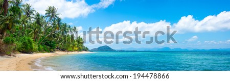 Tropical beach in Samui, Thailand - stock photo