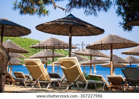 Tropical beach in Skiathos Island, Greece - stock photo