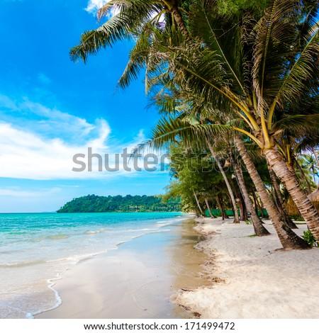 tropical beach in Thailand. - stock photo