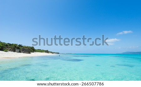 Tropical beach lagoon paradise of Okinawa full  of healthy coral and clear blue water with white sand bay - stock photo