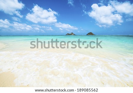 Tropical beach - Lanikai, Oahu, Hawaii - stock photo
