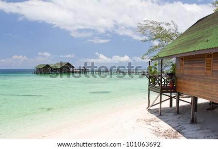 Tropical Beach, Lankayan, Malaysia. - stock photo