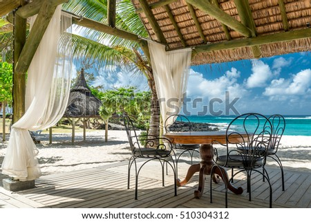 tropical beach lounge