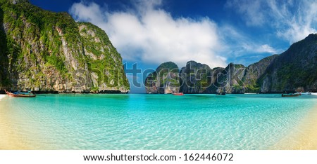 Tropical beach, Maya Bay, Andaman Sea,Thailand - stock photo