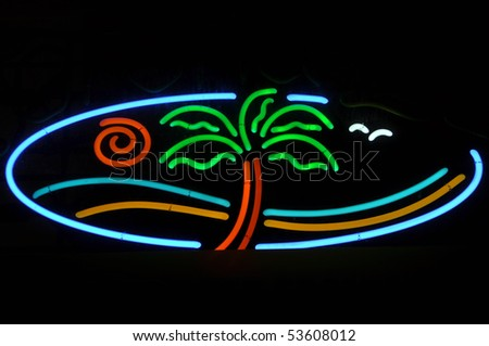 Tropical Beach Neon Sign Light with Palm Tree - stock photo