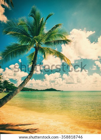Tropical beach of Koh Samui island in Thailand - stock photo