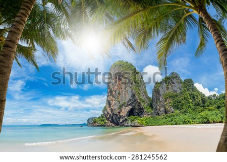 Tropical beach of Lamai in Koh Samui island in Thailand - stock photo