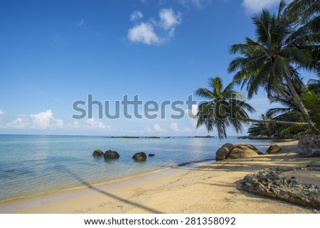 Tropical beach on Koh Phangan Island,Thailand - stock photo