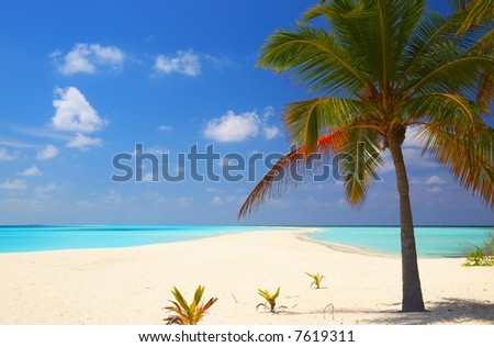 Tropical beach on the island Kuredu in the Indian Ocean, Maldives - stock photo