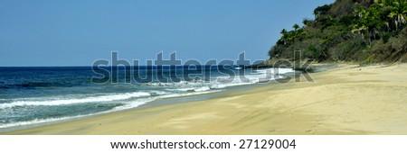Tropical beach on the pacific coast of Mexico near Puerto Vallarta - stock photo