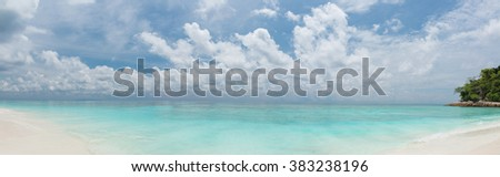 Tropical beach panorama - stock photo
