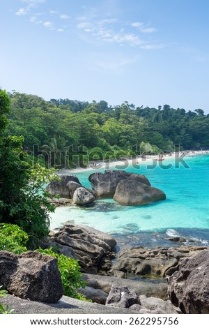 Tropical beach paradise seascape of Ko Similan National Marine park in Phang Nga province of Southern Thailand boasting pristine white sand beach and clear turquoise water - stock photo