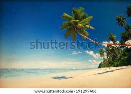 Tropical beach paradise with vintage effect. - stock photo
