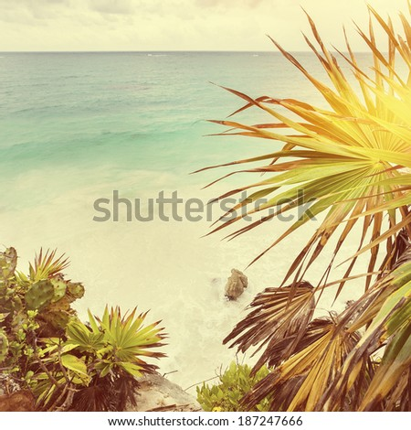 Tropical beach scene, instagram style - stock photo