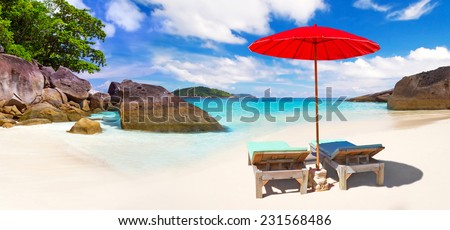 Tropical beach scenery from sun holidays in Thailand - stock photo