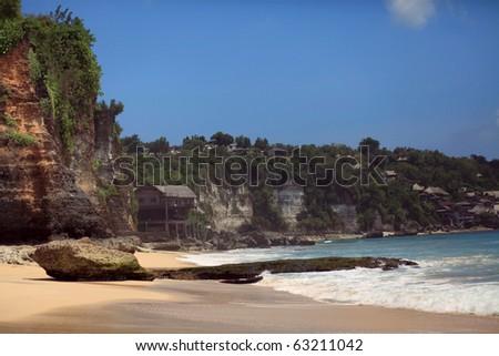tropical beach seascape. Bali, dreamland beach - stock photo