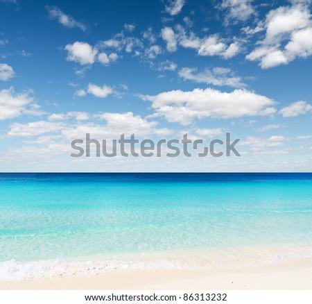 Tropical beach. Sky and sea. - stock photo