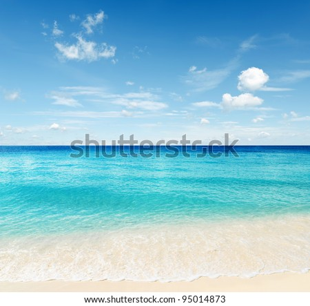 Tropical beach. Sky and sea. - stock photo