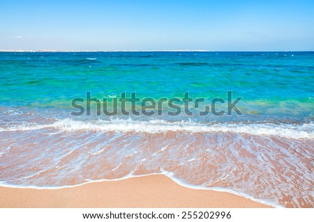 Tropical beach. Sky and sea. Beautiful summer landscape. Travel holiday background - stock photo