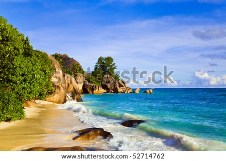 Tropical beach Source D'Argent at island La Digue, Seychelles - vacation background