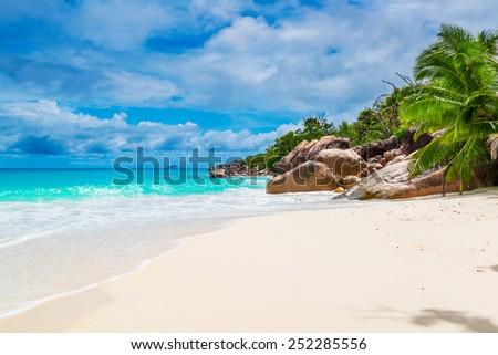 Tropical beach. The Seychelles - stock photo