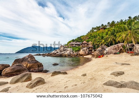 tropical beach under gloomy sky. Thailand - stock photo