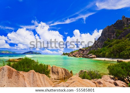 Tropical beach - vacation nature background - stock photo