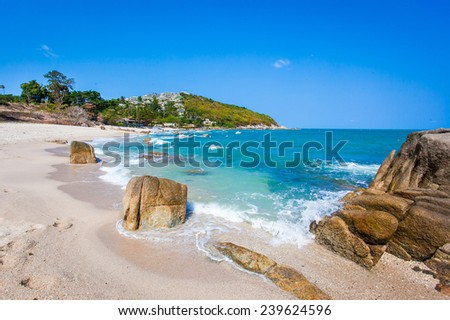 Tropical beach - vacation nature background on Koh Samui, Thailand - stock photo