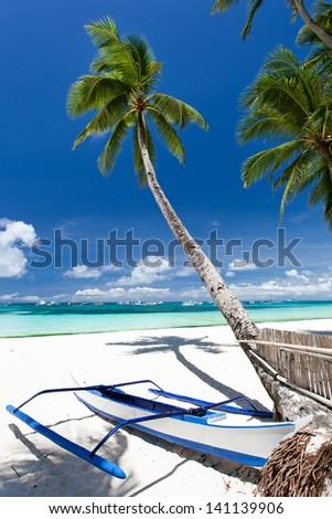 Tropical beach view, Philippines, Boracay - stock photo
