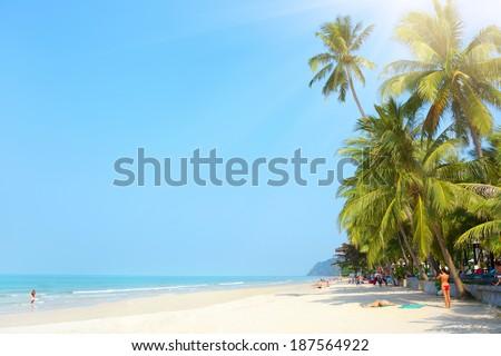 Tropical beach. White sand beach. Koh Chang, Thailand - stock photo