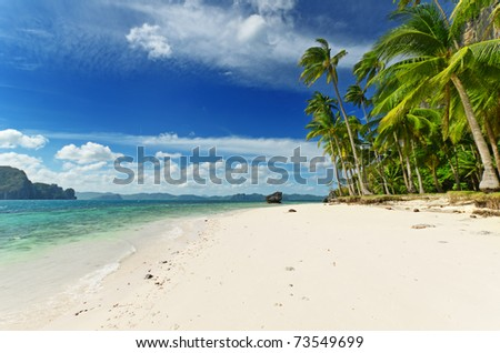 Tropical beach with blue sky. - stock photo
