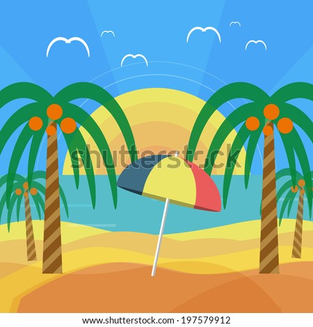 Tropical beach with palm trees and umbrella. Planning a summer vacation, tourism and journey. Raster version - stock photo