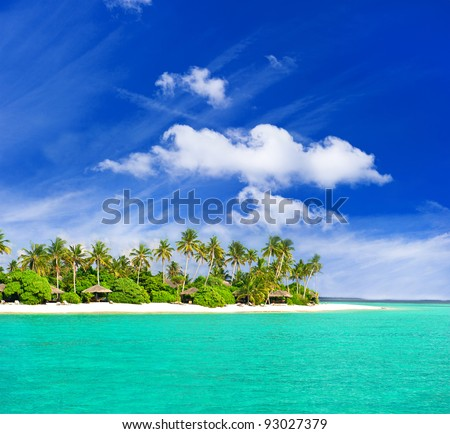 tropical  beach with palm trees over beautiful blue sky