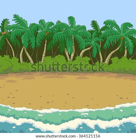 Tropical beach with palm trees raster version - stock photo