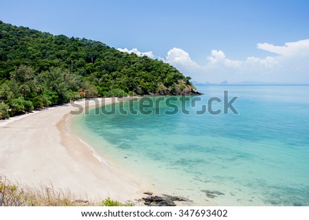 Tropical beach with sea blue sky, Andaman Sea, koh lanta, krabi, thailand - stock photo