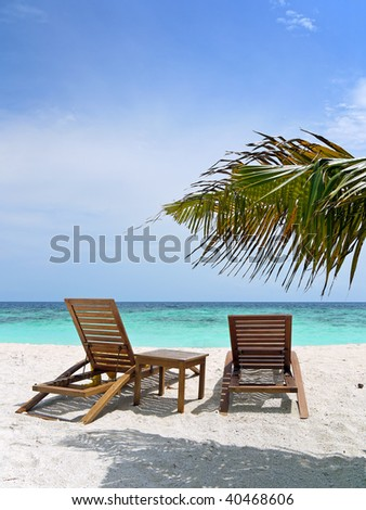tropical beach with sun loungers and leaf of palm tree