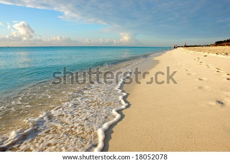 Tropical beach with wave rolling in - stock photo