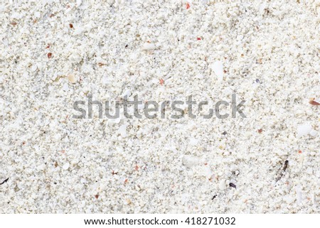 Tropical beach with white sand and broken seashells. Can be used as texture or background. - stock photo
