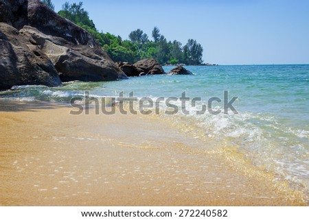 Tropical beach with  white sand. Andaman. Thailand,  Phuket - stock photo