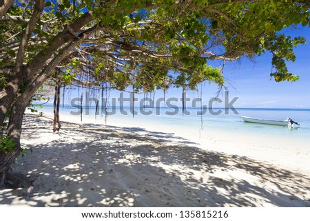 Tropical beach with white sand on Fiji island - stock photo