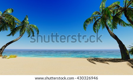 Tropical blue sea palms and clear sky 3D rendering