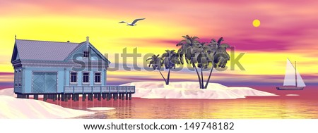 Tropical bungalow and palm trees next to amazing blue lagoon by sunset - stock photo