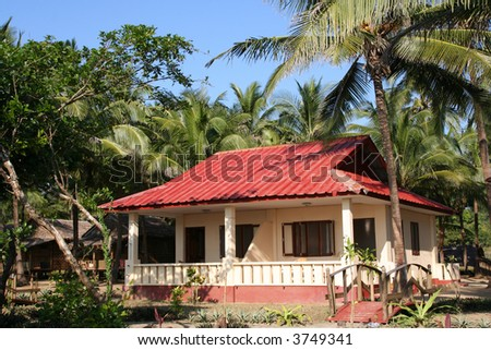 Tropical bungalow on Ngwe Saung Beach in Myanmar