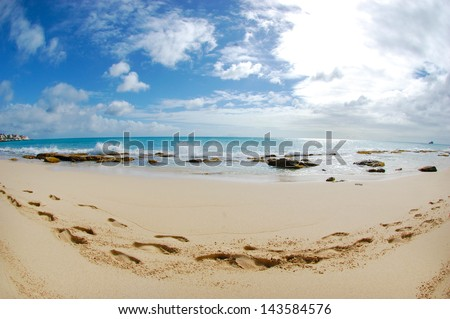 Tropical Caribbean Beach Fisheye - stock photo