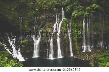 Tropical Cascade of Grand Galet with vintage looking filter, la Reunion island - stock photo