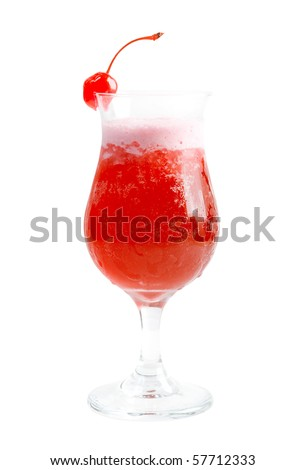 tropical cerise cocktail isolated on white background,clipping Path - stock photo